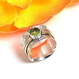 Meditationsringe, Spinnerringe, Silberringe für Frauen, Beautiful Designer Spinning Ring for Women, Peridot Wide Fusion…