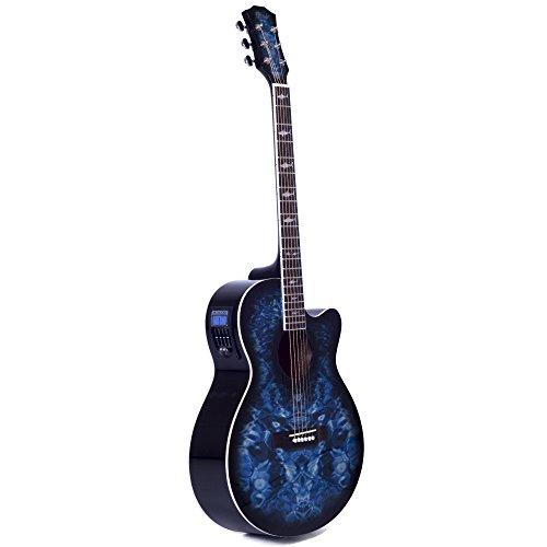 Lindo LDG-BS Elektro-Akustische Gitarre mit Vorverstärker, digitalem Tuner, XLR-Ausgang/Klinkenbuchse und Gitarrentasche mit Haifisch-Design blau
