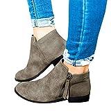 Damen laminiertem Absatz und seitlichem Reißverschluss Ankle Booties Low Heel Western Side Zipper Spitz Einfarbige Stiefel Damenstiefeletten mit zulaufendem (Schwarz, 42(CN) / 40(EU))