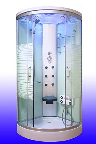 OimexGmbH Arielle ECO Weiß Duschkabine 100 x 100 cm Komplettdusche mit Massagefunktion Armaturen Sicherheitsglas (ESG) Dusche