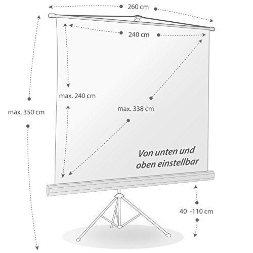 ULTRALUXX – mobile Stativleinwand 240×240 cm, 133 Zoll, weiß matt - 2