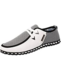 QinMM Mocassins Chaussures Ville Classique Homme Cuir Sneakers, Basses Casual Mesh Confortable Mode Baskets Plat