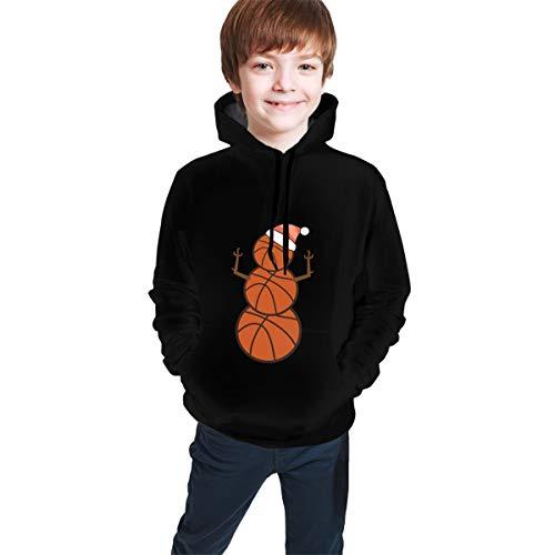 NaisPanda Jungen Mädchen Hoodie Langarm-Pullover mit Sternenhimmelmuster Polyester Herbst- und Winterkleidung Sport Freizeit,Basketball(S)