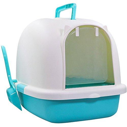HTZ Katzentoilette vollständig eingeschlossene desodorierte große Katze Sandbox Bedpan Anti-splash geruchlose Katze WC Cat Supplies 50 * 38 * 39 cm Pet WC (Farbe : Blue)