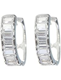 Elegante 925 Sterling Silber Damen - Paar Creolen mit Zirkonia - 14mm*4mm