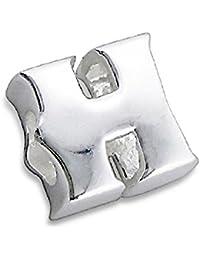 So Chic Joyas - Abalorio Charm letra H Inicial - Compatible con Pandora, Trollbeads, Chamilia, Biagi - Plata 925