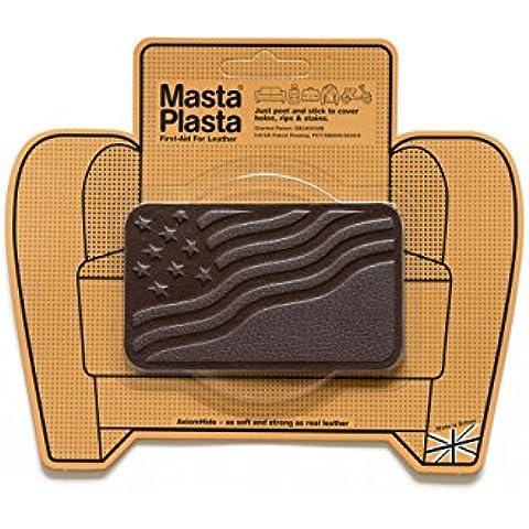 Marrón oscuro MastaPlasta autoadhesiva piel Parches Diseño de/tamaño de elegir. De primeros auxilios para sofás, sillas de coche, bolsos, chaquetas, etc., marrón, DARK BROWN FLAG 10cmx6cm