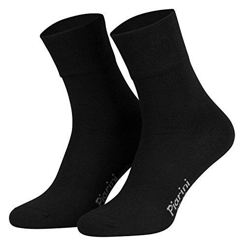 Piarini - 8 pares de calcetines unisex - Sin elástico - Caña cómoda - Negro - 43-46