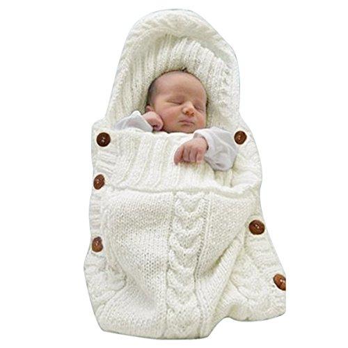 efanr Neugeborene Baby Wickeldecke Decke, Kleinkind Kids Knit Decke SWADDLE Neugeborenen Crochet Strick Infant Schlafsack Schlaf Sack Buggy Wickeln Für 0–12Monate Baby