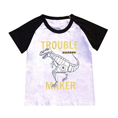 YanHoo Baby T-Shirt Kurzarm Heiße Art Dinosaurier Muster T-Shirt Unterhemd Tops Kinder Cartoon Dinosaurier Brief Trouble Maker Druck Stitching T-Shirt Top Shirt 2-8 Jahre alt