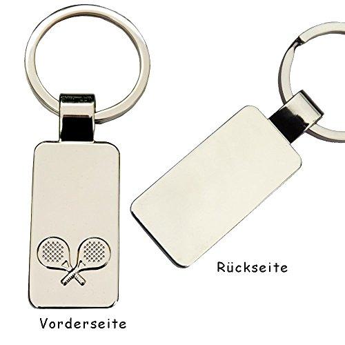 Schlüsselanhänger Tischtennis mit Gravur: die Vorname/Name auf der Vorderseite und Datum auf der Rückseite