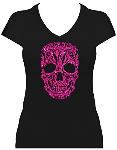 Fun Shirt Premium Damen Skull grosser Totenkopf Tattoo Design Glitzeraufdruck, T-Shirt, Grösse XL, Druck pink Glitzer (Design Tattoo T-shirt)