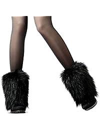 SwirlColor Fluffy Faux Fur Winter Warmer Shoe Cover Leg Fur Boot Sleeve For Women - Black