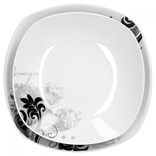 Van well servizio di piatti quadrati in porcellana 24 pezzi 12 persone motivo fiori neri - Servizio piatti quadrati ikea ...