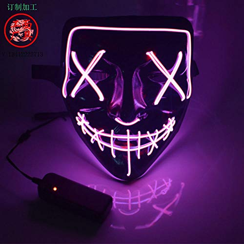 Fewao LED Maske mit 3 Blitzmodi für Halloween Fasching Karneval Party Scary Maske Cosplay led kostüm Maske Kostüm Cosplay - Scary Kostüm Für Halloween