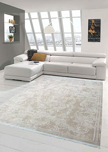 Designer Teppich Moderner Teppich Wollteppich Meliert Wohnzimmerteppich Wollteppich Ornament Beige Größe 120x170 cm