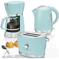 CTC Set Desayuno Vintage, Cafetera de goteo 15 tazas, Tostadora de pan 2 rebanadas, Hervidor de agua eléctrico 1,7 litros, verde menta pastel estilo Retro