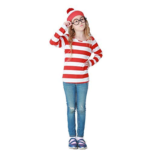 Kostüm Wally Kind Ist Wo - Fanessy. Jungen Mädchen Herren Damen Wo ist Walter kostüm Mit Oberteil, Brille und Mütze Where´s Wally Kostüm Erwachsene Kinder Verkleidung Cosplay Outfit für Fasching Halloween Karneval Party