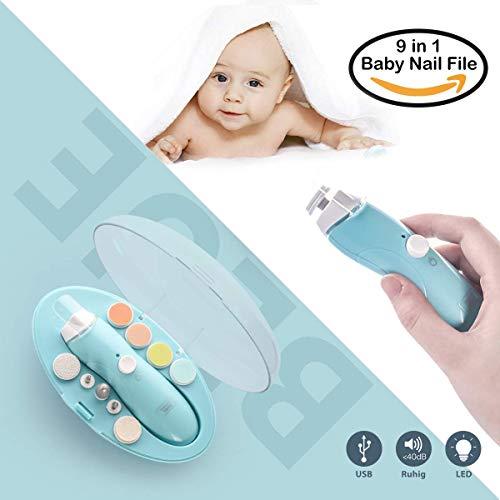 Elektrische Baby Nagelfeile, Maniküre & Pediküre Nagelpflege Set 9 in 1 Nagelfeile mit LED- Licht für Babys, Kleinkind, Erwachsene, gesund und Sicher (Batterien inklusive) -