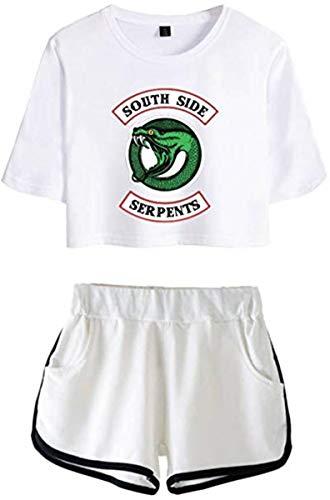 Riverdale Southside Serpents Damen Kurzarm T-Shirts + Kurze Hose Sets Sport Streetwear Bekleidungsets -