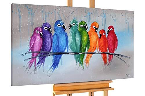Vogel Leinwand Kunst (KunstLoft® Acryl Gemälde 'Enger Zusammenhalt' 140x70cm | original handgemalte Leinwand Bilder XXL | Vögel Natur Tier Bunt | Wandbild Acrylbild Moderne Kunst einteilig mit Rahmen)