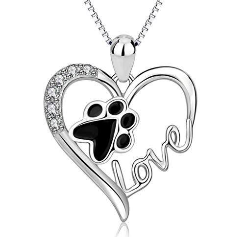 WJMSS Sterling Silber Hündchen Katze Haustier Pfotenabdruck CZ Liebe Herz Anhänger Halskette Geschenk für Frauen Mädchen -