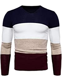 BUSIM Men's Long Sleeve Sweater Autumn Patchwork Pullover Multicolor Stitching Knit Sweater Tops T-Shirt Jacket...
