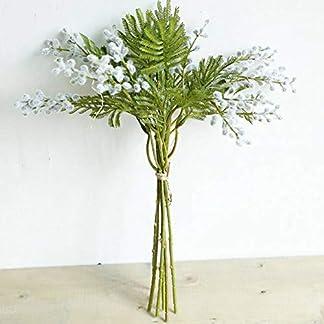 RAZAHA Manojos De Flores Artificiales Flocadas Acacia Novia con Ramo Esponjoso Helecho De Plástico Planta Falsa Hogar Sala De Estar Decoración De La Mesa