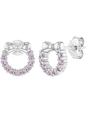 In Season Jewelry Mädchen Teens - Ohrstecker Ohrringe Kranz Fliege Schleife 925 Sterling Silber Rosa CZ Zirkonia