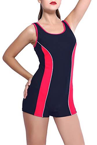 BeautyIn Damen Badeanzüge mit Beinen Sportlich Boyleg Wettkampf Schwimmanzug Frau Bademode XS