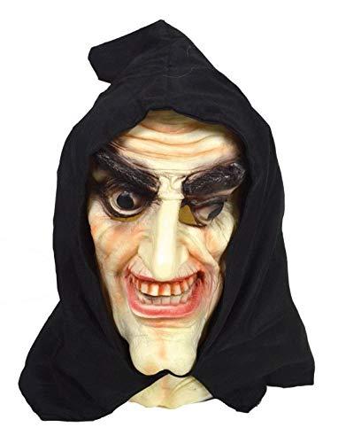 Luxuspiraten - Kostüm Accessoires Zubehör Latex Horror Maske alte Hexe mit Kapuze, Mask Witch with Hood, perfekt für Halloween Karneval und Fasching, ()