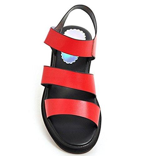 RAZAMAZA Femme Confortable Bout Ouvert Plateforme Sandales Scratch A Plage Laniere Rouge