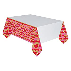 Amscan International-5717061,37x 2,6m corazón de oro manteles de papel