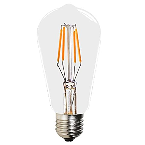4W E27 ST58 Vintage Retro Edison LED Filament Light Bulb - 40W Equivalent - Warm White 2200K - 220V-240V - Non-dimmable - 1 Pack - by