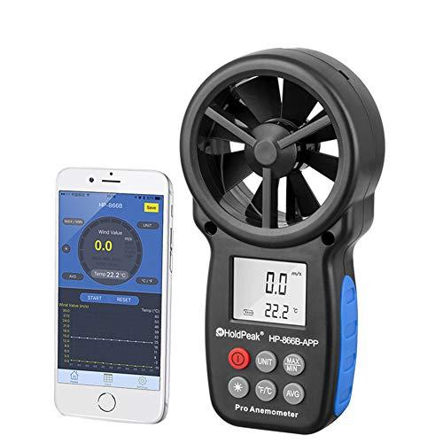 Anemómetro digital de mano, medidor de velocidad del viento portátil...