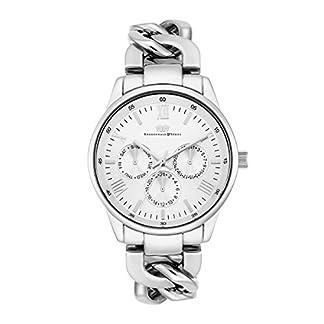 Rhodenwald-Shne-Brana-Damenuhr-Quarzuhr-Edelstahl-Silber-3-ATM-Przisions-Quarzwerk-Multifunktion-Optik-Metall-Gliederarmband-Silber-Armband-Uhr-analog