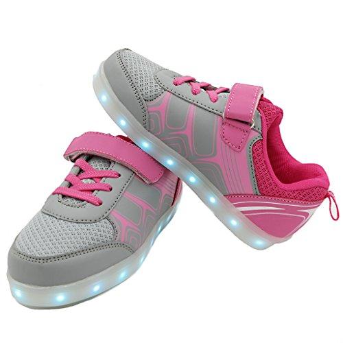 Bevoker LED Schuhe Kinder Jungen Mädchen Unisex Leuchtend Sneaker Laufschuhe Sportschuhe Pink