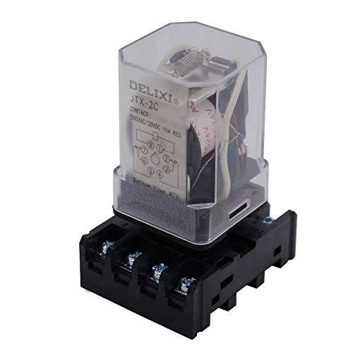 Relais de puissance 8 broches 2NO 2NC DPDT avec base enfichable - TWTADE/JTX-2C, MK2P-I DC 12 V, DC 24 V, AC1 10 V, AC 12 V, AC 24 V (au choix), AC 24V, 1
