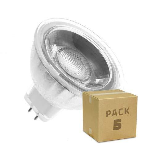 Pack 5 Lámparas LED GU5.3 MR16 COB Cristal 220V 5W