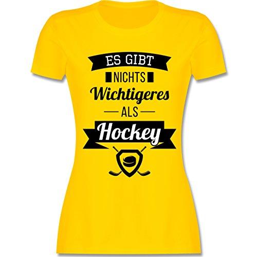 Eishockey - Es gibt nichts Wichtigeres als Hockey - tailliertes Premium T-Shirt mit Rundhalsausschnitt für Damen Gelb