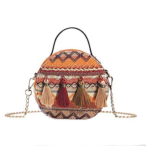ishine Runde Strandtasche mit Quast Tasche Rattan Handtasche Vintage Handgemacht Umhängetasche Tasche böhmische Umhängetasche für Frauen -
