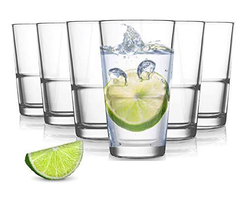 Pasabahce Grande Wassergläser - 250 ml - Set aus 6 - Hochwertige Gläser - Spülmaschinenfest - Kristallgläser - Stapelbar