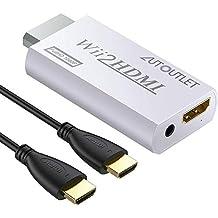 AUTOUTLET Wii naar HDMI Converter Output Video Audio Adapter, Met 1 M HDMI Kabel Wii2HDMI 3.5mm Audio Video Uitgang Ondersteunt 720/1080 P Alle Wii Display Modes voor Nintendo