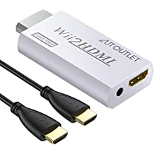 AUTOUTLET Wii HDMI Converter Aluminum Alloy Wii to HDMI Converter Scales Wii Signal to 720p and 1080p WII2HDMI VIDEO CONVERTER ADAPTOR + 3.5MM AUDIO