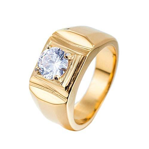 LOUMVE Edelstahl Ringe für Herren Solitaire Zirkonia Verlobungsring Männer Gold Größe 65 (20.7)
