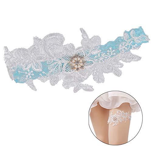 ZOYLINK Hochzeit Strumpfband, 2ST Braut Strumpfband Elastisch Sexy Bogen Strumpfband Bein Ring Spitze Strumpfband FüR Hochzeit (blau) -