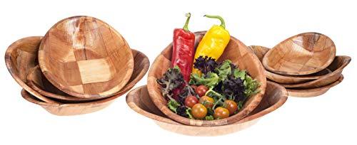 Brokson 10-teiliges Bambus Ovaal Salatschüssel/Dipschale/Snackschale