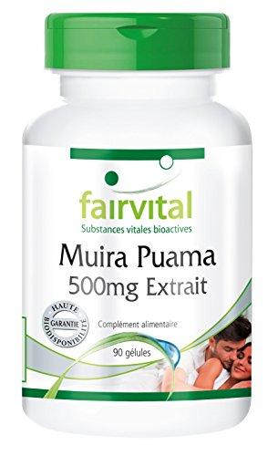Muira Puama bois de puissance 10:1 Extrait 500mg de 5mg de Muira Puama - 90 gélules