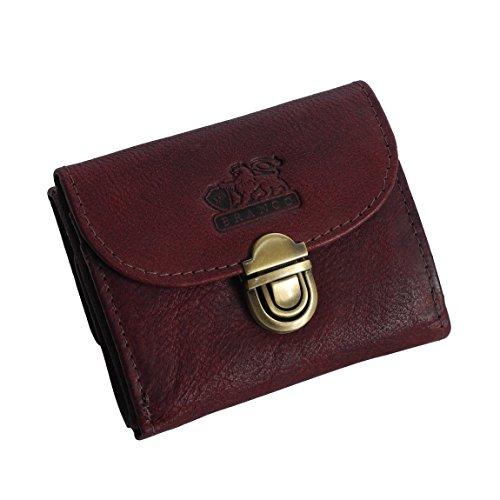 BRANCO Leder - kleine und sehr feine Mini Leder Damen Geldbörse, Portemonnaie, Ladys Wallet mit Kartenfächern - in verschiedenen Farben verfügbar - präsentiert von ZMOKA® (Bordeaux)