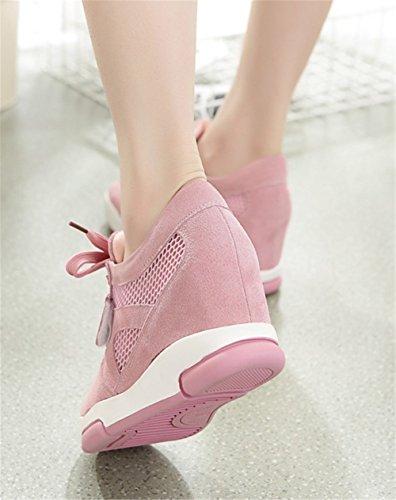 Wealsex Damen Sneakers Wedges Sportschuhe Pink